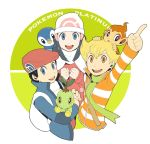 2boys backpack bag beanie black_hair blonde_hair blue_eyes blue_hair chimchar chiyomaru hair_ornament hat hikari_(pokemon) hikari_(pokemon)_(remake) holding jun_(pokemon) jun_(pokemon)_(remake) kouki_(pokemon) kouki_(pokemon)_(remake) long_hair looking_at_viewer multiple_boys open_mouth orange_eyes piplup pokemon pokemon_(game) pokemon_dppt scarf shirt smile striped striped_shirt title_drop turtwig winter_clothes wscw