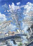 2013 artist_name building city clouds dated floating_city highres k_kanehira original pot sky stairs stall tree umbrella window