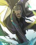 alexander_anderson glasses hellsing knife lowres male mouth_hold nankakureman solo trench_coat weapon