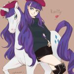beatnik beret blue_eyes boots character_name dual_persona eyelashes eyeshadow hat horse long_hair lydia0031 makeup mane miniskirt my_little_pony my_little_pony_friendship_is_magic personification pony purple_hair rarity skirt smile sweater thigh-highs thigh_boots thighhighs turtleneck unicorn