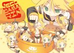 6+girls all_fours animal_ears ass belt blade_(lovewn) blonde_hair cat_ears cat_tail climbing clone closed_eyes detached_sleeves elbow_gloves eyes_closed fangs gloves green_eyes hair_ornament hairclip in_bowl in_container kagamine_len kagamine_rin kemonomimi_mode midriff minigirl multiple_girls navel neckerchief open_mouth paw_gloves paw_print shirt short_hair shorts sitting sleeping sleeveless sleeveless_shirt smile stretch symbol-shaped_pupils tail vocaloid