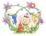 flower naru_(wish_field) nintendo olimar pikmin pikmin_(creature) pointy_ears sitting spacesuit vines