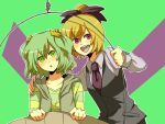 akasata alternate_costume blonde_hair blush bow collarbone contemporary green_eyes green_hair hair_bow kisume kurodani_yamame long_sleeves multiple_girls necktie open_mouth puffy_sleeves short_hair subterranean_animism touhou twintails