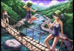 arm_support bare_legs bare_shoulders bathing blue_eyes blue_hair blue_sky bridge brown_hair can cloud clouds dark_haired_kappa forest frame glasses glasses_kappa hair_bobbles hair_ornament hanging_bridge hat holding jumping kappa_mob kawashiro_nitori kurione_(zassou) letterboxed lying multiple_girls nature on_back open_mouth outdoors outstretched_arms ponytail purple_hair resized river scenery school_swimsuit short_hair sky smile soda_can swimsuit tent touhou twintails water