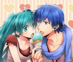1girl blue_eyes blue_hair food green_eyes green_hair hatsune_miku ice_cream ice_cream_cone irono_yoita kaito nail_polish open_mouth scarf twintails vocaloid