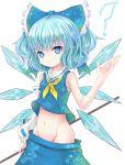 :< ? blue_eyes blue_hair bow cirno cosplay detached_sleeves hair_bow hakurei_reimu hakurei_reimu_(cosplay) ice ice_wings mound_of_venus navel no_panties sarashi single_sleeve solo touhou vils wings