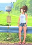 bad_id blue_eyes brown_hair cutoffs denim denim_shorts guard_rail loli original road_sign sandals sarah_sauge short_shorts shorts sign solo standing tank_top