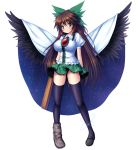 arm_cannon bird_wings black_legwear black_wings blush bow breasts brown_eyes brown_hair cape hair_bow huge_breasts impossible_clothes impossible_shirt large_breasts large_wings long_hair looking_at_viewer mismatched_footwear puffy_sleeves red_eyes reiuji_utsuho short_sleeves simple_background skirt solo standing takeponi thigh-highs thighhighs third_eye touhou very_long_hair weapon white_background wings zettai_ryouiki