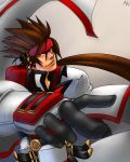 1boy brown_hair gloves guilty_gear headband kyousakee order_sol red_eyes sol_badguy solo spiked_helmet uniform