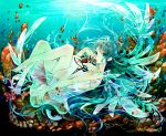 dress green_eyes green_hair legs nosaki_tsubasa saya saya_no_uta underwater wings