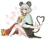 animal_ears bad_id blonde_hair blush brown_hair capelet hair_ornament heart heart_tail hug long_sleeves mouse_ears mouse_tail multicolored_hair multiple_girls nazrin red_eyes sherad short_hair silver_hair sitting sweatdrop tail toramaru_shou touhou two-tone_hair white_background wide_sleeves