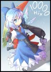 adapted_costume advent_cirno ahoge blue_eyes blue_hair cirno dual_wielding gloves ice ice_wings long_sleeves senhaku short_hair short_sleeves solo sword touhou weapon wings