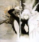 castlevania castlevania:_aria_of_sorrow coat kojima_ayami male official_art oil_painting_(medium) pale_skin solo soma_cruz sword turtleneck weapon white_hair