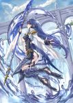 armor ass blue_eyes blue_hair bodysuit bolero breasts cropped_jacket earrings fingerless_gloves gloves jewelry long_hair low-tied_long_hair original polearm ran'ou_(tamago_no_kimi) ran'ou_(tamago_no_kimi) solo water weapon wide_sleeves