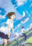 2boys bicycle black_eyes black_hair cloud clouds dog multiple_boys original school_uniform shirt short_hair skirt sky tori_(qqqt)