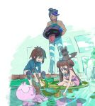 2boys ahoge black_hair brown_hair closed_eyes double_bun emolga eyes_closed frillish kyouhei_(pokemon) laughing lily_pad mei_(pokemon) multiple_boys pokemon pokemon_(game) pokemon_bw2 shellder shizui_(pokemon) shuri_(84k) snivy swimsuit tan twintails water