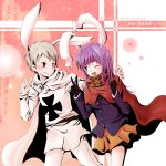 1girl adapted_costume advent_cirno animal_ears axis_powers_hetalia bunny_ears cape cross gloves headband iron_cross long_hair long_sleeves open_mouth prussia_(hetalia) purple_hair rabbit_ears red_eyes reisen_udongein_inaba silver_hair touhou v wink