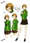 artbook concept_art glasses highres jacket official_art persona persona_4 satonaka_chie scan skirt soejima_shigenori