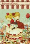 beatrice blonde_hair bow cake candy checkerboard_cookie chibi choker cookie dress drill_hair flower food frills gaap gift hat ladder long_hair macaron matsuriso mini_top_hat pastry rose silver_hair top_hat umineko_no_naku_koro_ni virgilia