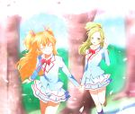 2girls closed_eyes green_eyes green_hair grin half_updo holding_hands holding_head houjou_hibiki kagami_chihiro long_hair minamino_kanade multiple_girls orange_hair precure school_uniform smile suite_precure tree two_side_up
