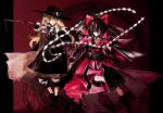 2girls alternate_costume banpai_akira black_hair blonde_hair braid broom castlevania chains duplicate gohei hakurei_reimu hat kirisame_marisa koumajo_densetsu long_hair red_eyes short_hair touhou wallpaper yellow_eyes