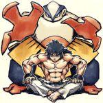 1boy hariyama long_hair lowres male manly meitei muscle pokemon pokemon_(creature) ponytail shiba_(pokemon) shirtless siba_(pokemon) top_four