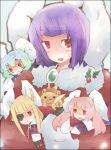 animal_ears black_hair blonde_hair blue_hair blush rabbit_ears christmas santa_costume short_hair siesta00 siesta410 siesta45 siesta556 siesta_sisters twintails umineko_no_naku_koro_ni