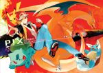 bag baseball_cap brown_hair bulbasaur charizard cover dated hat holding holding_poke_ball jacket lupicam male nintendo pikachu poke_ball pokemon pokemon_(game) red_(pokemon) red_(pokemon)_(remake) red_eyes short_hair wartortle wristband