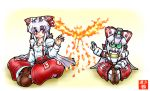 bird boots bow crossover fujiwara_no_mokou gundam hair_bow lavender_hair long_hair mayohi_neko mechanization open_mouth phoenix red_eyes sd_gundam sitting suspenders touhou v2_gundam victory_gundam
