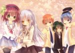 2girls 3boys angel_beats! blue_hair brown_eyes green_eyes green_hair hina_(ohinao) hinata_(angel_beats!) long_hair multiple_boys multiple_girls naoi_ayato orange_hair otonashi_(angel_beats!) purple_eyes purple_hair school_uniform serafuku short_hair silver_hair tachibana_kanade tenshi_(angel_beats!) violet_eyes yellow_eyes yuri_(angel_beats!)
