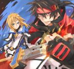 black_hair blonde_hair blue_eyes circlet fingerless_gloves gloves guilty_gear guilty_gear_2 headband kito_shinohara ky_kiske male multiple_boys popped_collar red_eyes sol_badguy sword weapon