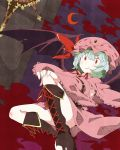 bat_wings belt blue_hair blush boots capelet cloud clouds collagen crescent cross-laced_footwear detached_sleeves dress green_hair grin hat hat_ribbon highres jewelry night red_eyes remilia_scarlet ribbon short_hair short_sleeves smile solo touhou wide_sleeves wings