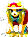 alternate_costume bare_shoulders blue_(pokemon) blue_eyes hat long_hair open_mouth pokemon pokemon_(game) pokemon_frlg pokemon_special porkpie_hat simple_background skirt smile solo tegaki white_background