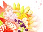 banana bare_shoulders blonde_hair breasts cherry cleavage crown dress finger_to_mouth food frills fruit gloves grapefruit grapes in_food jewelry kiwifruit koto_(colorcube) licking_lips long_hair mango melon minigirl necklace original pink_dress sleeveless sleeveless_dress smile solo strawberry tongue tongue_out veil very_long_hair watermelon white_gloves yellow_eyes