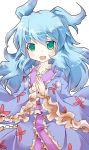 :d aqua_eyes blue_hair frilled_sleeves green_eyes hands_together japanese_clothes kimono long_hair open_mouth original sashiromiya_sasha sesield smile solo touhou wide_sleeves yukata