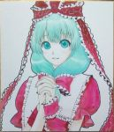 acrylic_paint_(medium) aqua_eyes aqua_hair arm_ribbon bow frills front_ponytail hair_bow hair_ornament hair_ribbon hands_clasped hands_together interlocked_fingers kageharu kagiyama_hina long_hair open_mouth photo ribbon shikishi short_sleeves smile solo touhou traditional_media