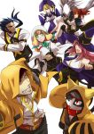 4boys 4girls ahoge android animal_ears blazblue blazblue_phase_0 blonde_hair blue_hair caelica_a_mercury carrying cat_ears cat_hood cat_tail eyepatch facial_hair fang ggrock glasses goatee grin hair_over_one_eye hair_ribbon hakumen hat hood jubei_(blazblue) konoe_a_mercury multiple_boys multiple_girls multiple_tails nirvana princess_carry purple_eyes red_eyes red_hair redhead ribbon sideburns smile tail trinity_glassfield twintails valkenhayn_r_hellsing violet_eyes witch_hat yellow_eyes young yuuki_terumi