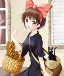 :d bag basket blush bread brown_eyes brown_hair carrying cat collarbone food hairband jiji_(character) jiji_(majo_no_takkyuubin) kiki majo_no_takkyuubin ok-ray open_mouth short_hair smile solo window