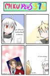 1girl 4koma ahoge beard blonde_hair blood blood_on_face blue_eyes blush brown_hair catstudio_(artist) comic facial_hair fate/zero fate_(series) highres kagamine_len kotomine_kirei kuso_miso_technique multiple_boys open_mouth parody picture_(object) red_eyes scarf silver_hair sweat thai toosaka_tokiomi translated translation_request vocaloid yaoi yowane_haku