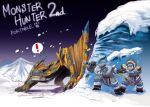 2boys aqua_eyes claws helmet monster_hunter multiple_boys ryuuta_(ipse) snow snowing sword tigrex weapon
