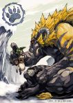 2012 ambiguous_gender cat eye_contact felyne feral highres horn monster_hunter rajang red_eyes ryuta ryuuta_(ipse) size_difference video_games