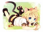 :3 animal_ears blonde_hair blue_eyes cat_ears cat_feet fang kagamine_len kemonomimi_mode leeannpippisum open_mouth short_hair shorts smile vocaloid