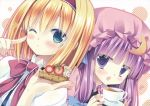 :o ;) alice_margatroid blonde_hair blue_eyes blush bow capelet crescent hair_bow hairband hat highres holding long_hair looking_at_viewer miyasu_risa multiple_girls natsume_eri outline patchouli_knowledge purple_eyes purple_hair saucer scan short_hair slice_of_cake star touhou violet_eyes white_background wink