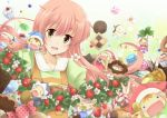 chocolate cookie fairy fairy_(jintai) food fruit green_eyes jinrui_wa_suitai_shimashita long_hair nora-toro open_mouth pink_hair smile strawberry very_long_hair watashi_(jintai)