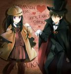 1girl black_hair brown_hair cape chitanda_eru cosplay detective formal green_eyes heart hyouka kimi_ni_matsuwaru_mystery long_hair monocle oreki_houtarou pantyhose purple_eyes riko_(maki-y318) short_hair suit violet_eyes