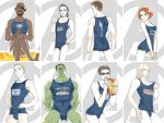 1girl 6+boys avengers black_hair brown_hair bruce_banner clint_barton crossdressing dark_skin eyepatch facial_hair green_skin gun handgun hulk iron_man loki_(marvel) marvel mask multiple_boys mustache natasha_romanoff nick_fury one-piece_swimsuit parody reammara red_hair redhead short_hair steve_rogers sunglasses swimsuit thor_(marvel) tony_stark weapon what
