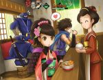 2girls 3boys ^_^ anifei bags_under_eyes bowl brown_hair bucket chopsticks closed_eyes eating eyes_closed food hair_ornament heart indoors japanese_clothes kimono kisuke kote kusazuri mask momohime multiple_boys multiple_girls ninja o_o obi oboro_muramasa rice scarf sitting smile sode spoken_heart standing sword tengu_mask weapon
