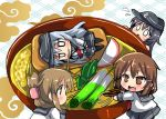 4girls :d aburaage black_hair brown_eyes brown_hair chibi flying_sweatdrops folded_ponytail food hair_ornament hairclip hibiki_(kantai_collection) ikazuchi_(kantai_collection) inazuma_(kantai_collection) kantai_collection kitsune_udon long_hair multiple_girls open_mouth oshiruko_(uminekotei) short_hair silver_hair smile