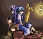 advent_cirno animal_ears blue_eyes blue_hair brown_hair bunny_ears cirno crate gloves hair_tubes hakurei_reimu lamp long_hair long_sleeves multiple_girls puffy_sleeves purple_hair rabbit_ears red_eyes reisen_udongein_inaba short_hair short_sleeves smile sword touhou umakatsuhai weapon yellow_eyes yukkuri_shiteitte_ne