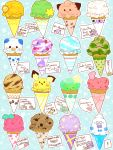 cherubi cleffa combee dessert drifloon english food furret geodude ice_cream luvdisc miltank mime_jr. no_humans objectification odd_one_out oshawott pichu pokefood pokemon shaymin shroomish solosis tegaki vanillish wingull